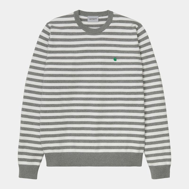 Jersey Carhartt: Scotty Sweater (Sct Stripe Grey Hea Wax)