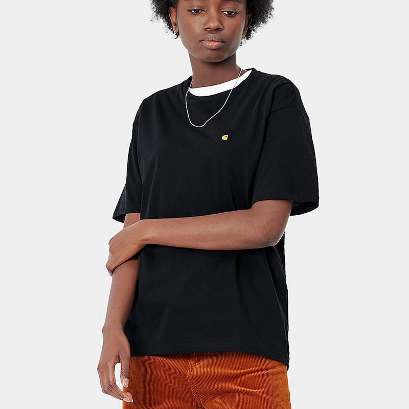 Camiseta Carhartt: W SS Chase TShirt (Black Gold)