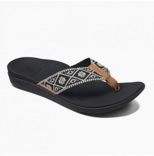 Chanclas Reef: W Reef Ortho Bounce Woven (Black White) Reef - 1