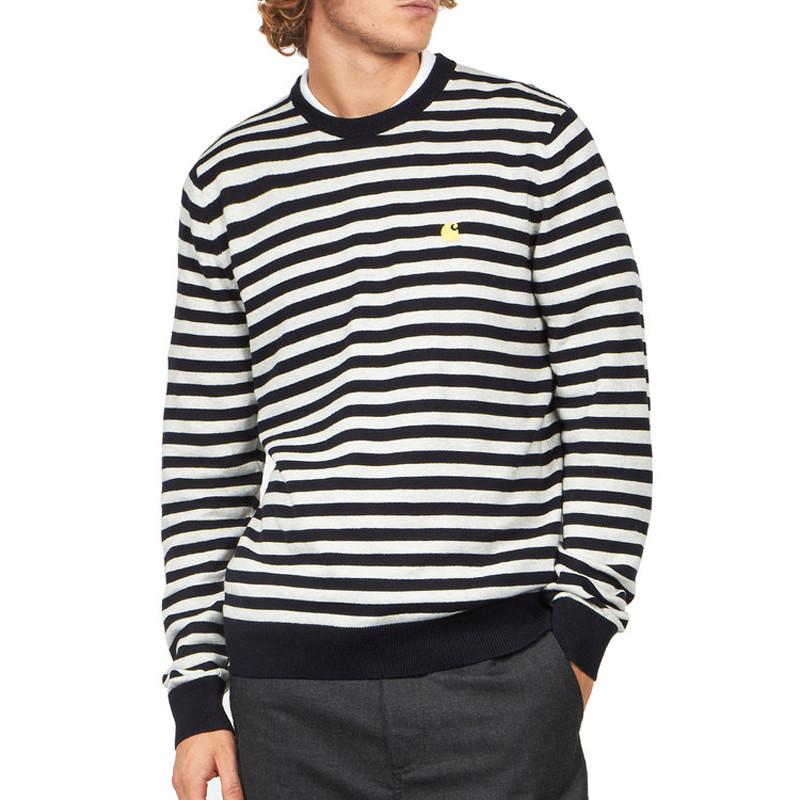 Jersey Carhartt: Scotty Sweater (Sct Stripe Dark Navy Wax)