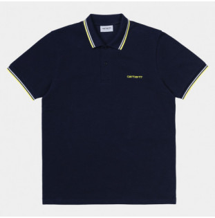 Polo Carhartt: SS Script Embroidery Polo (Dk Ny Wht Lmn) Carhartt - 1
