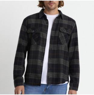 Camisa Brixton: Bowery LS Flannel (Black Charcoal) Brixton - 1
