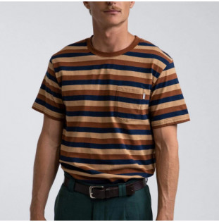 Camiseta Rhythm: Everyday Stripe SS T Shirt (Baked Clay)