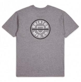Camiseta Brixton: Crest II SS Stt (Heather Grey White)