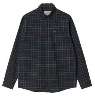 Camisa Carhartt: LS Baxter Shirt (Baxter Chk Dk Navy Grove)